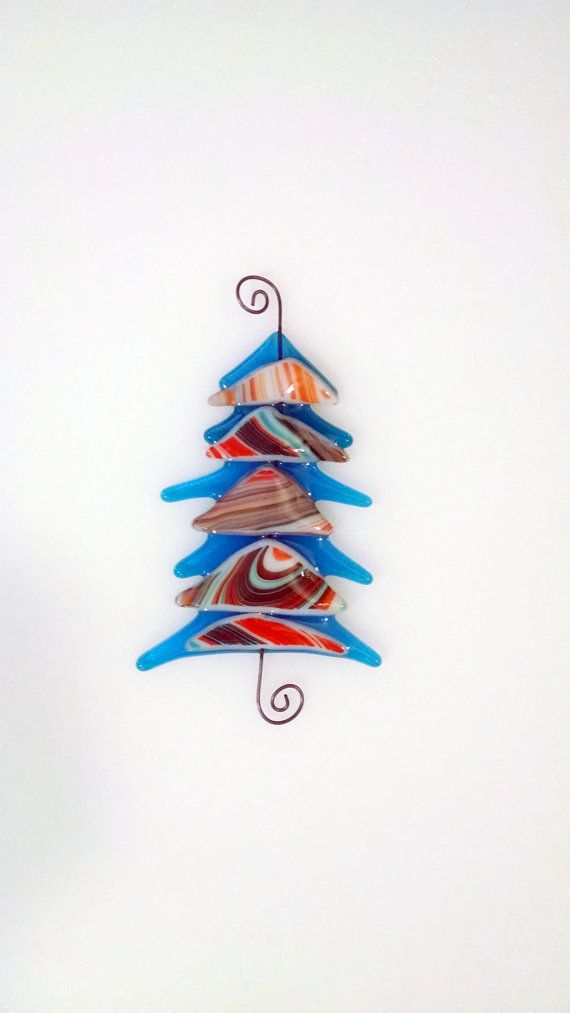 Fused Glass Christmas Tree - Blue  Orange Glass Tree - Southwestern - Christmas Ornament - Glass Christmas Tree - Christmas Decor- Glass Art