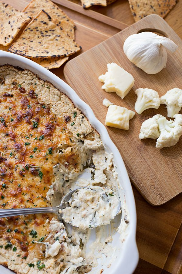 Hot  Cheesy Roasted Cauliflower and Spinach Dip