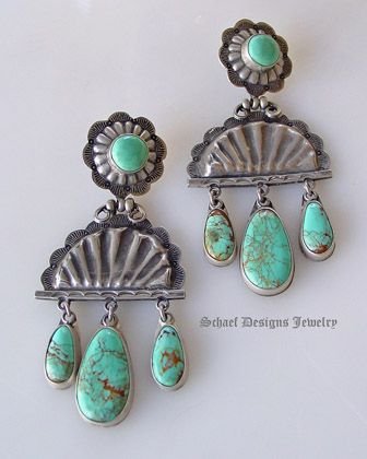 David Troutman Kingman Turquoise Old Style Concho Chandelier Post Earrings | upscale online Turquoise Native American jewelry gallery boutique  | Schaef Designs Turquoise Southwestern Jewelry | New Mexico