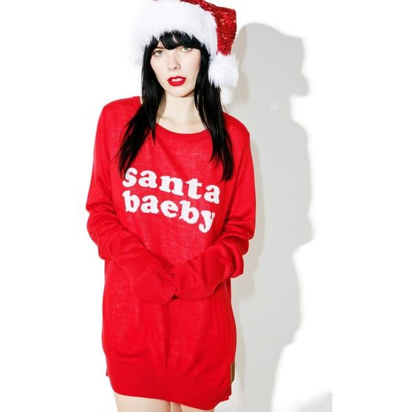 Tipsy Elves Santa Baeby Sweater ($13) ❤ liked on Polyvore featuring tops, sweaters, red top, letter sweater, tipsy elves sweaters, red knit sweater and slouchy tops