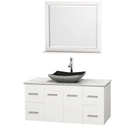 Wyndham Collection Centra 48 inch Single Bathroom Vanity in Matte White, White Man-Made Stone Countertop, Arista Black Granite Sink, and 36 inch Mirror