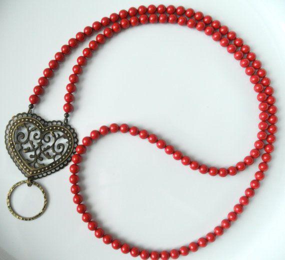 Red Coral Swarovski Pearl Eyeglass Lanyard Necklace Glasses