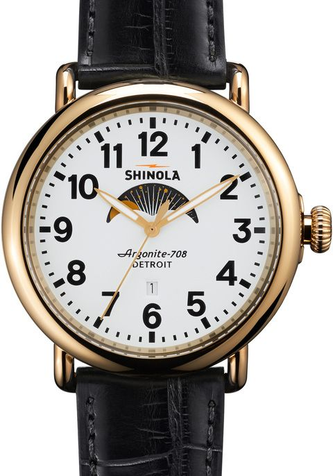 Shinola Runwell Moon Phase 47mm, Black Alligator Strap