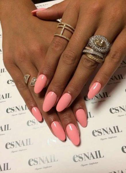 36 Ideen Nägel oval rosa Farbe # Acrylnägel Mandel – Acrylnägel Mandel – #Ac … – Nageldesign