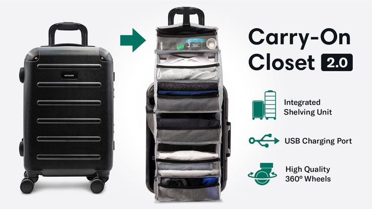 CarryOn Closet 2.0 Solgaard Suitcase with Shelf and USB