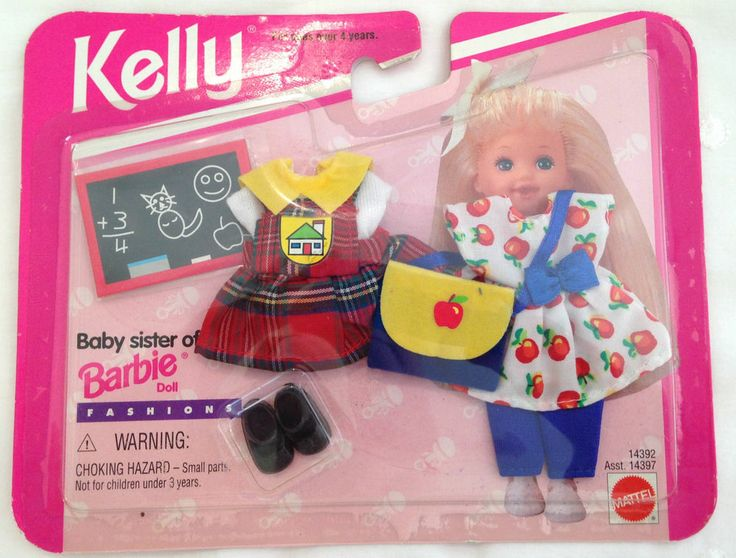 NEW Barbie Kelly Club Fashions School Outfits Clothes Plaid Jumper/Top/Apple Bag