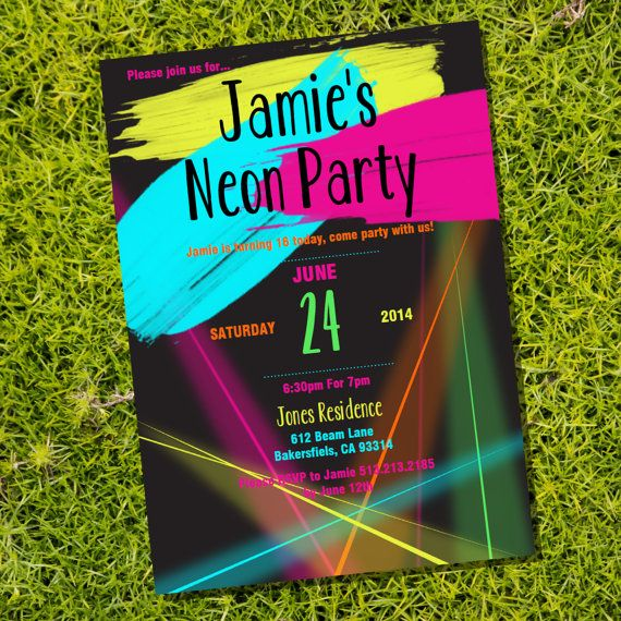 Neon Party Theme Invitation with lump yellow pink and blue! #glow #neon