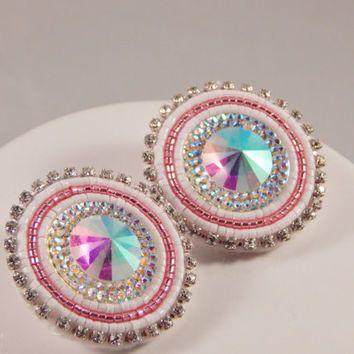 Pink White Beaded Earrings, pow wow beadwork, resin - fancy jingle traditional ladies dancer - Native American Metis made - rhinestone