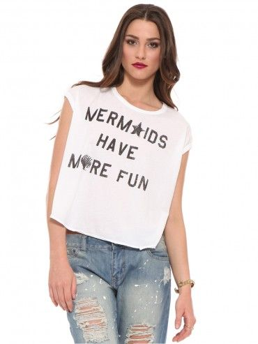 """GYPSY WARRIOR This summer, all we'll need is the salty air, and this  Mermaid Crop Tee. It features a wide crewneck, raw edge bottom hem, and  """"Mermaid"""" ..."""