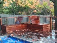 Decking and seating around pool
