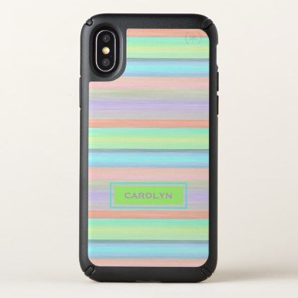 Custom Coral Pink Lime Green Turquoise Stripes Speck iPhone X Case - retro gifts style cyo diy special idea
