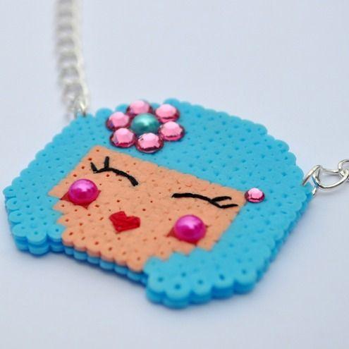 Kokeshi necklace perler beads from Daisy Mooo