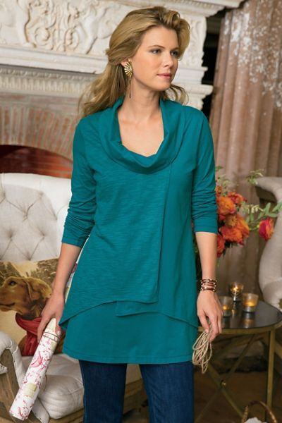 At Ease Tunic Overlapping layers (the top one's subtly textured) and an easy A-line shape flatter figures of all kinds in this soft stretch-cotton knit tunic. A generous cowl