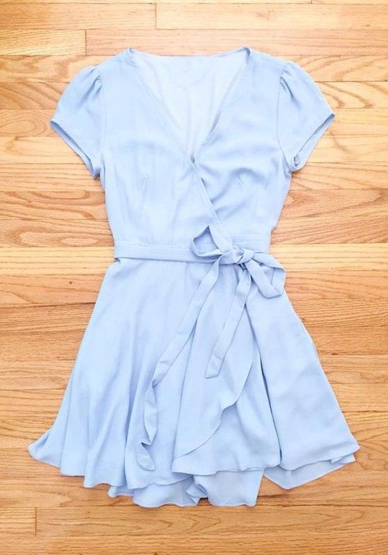 Blue Plain Belt V-neck Casual Polyester Midi Dress