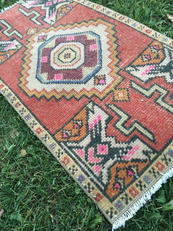 Handmade Small Turkish Yastik Rug With Great Pops Pink Geometric