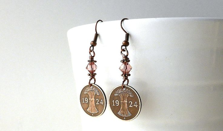 German earrings, Coin earrings, Coin jewelry, Pink earrings, Farming, Agriculture, Wheat, Swarovski earrings, Blush rose, Girls gift, 1924 by CoinStories on Etsy