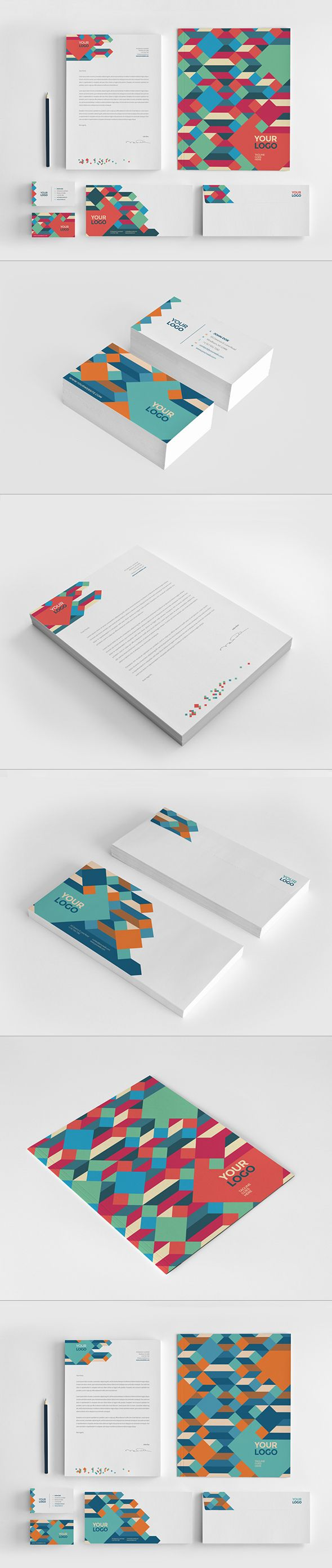 Clean Colorful Stationery on Behance