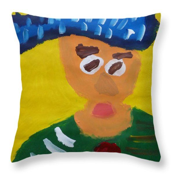 Patrick Francis Throw Pillow featuring the painting Portrait Of Camille Roulin 2015 - After Vincent Van Gogh by Patrick Francis