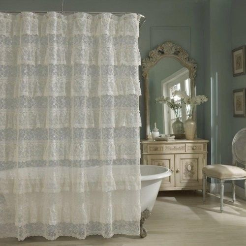 Sheer Lace Priscilla Ruffle Shower Curtain Old Fashioned Pink