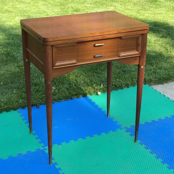 EMPTY VINTAGE SINGER SEWING MACHINE CABINET TABLE FITS 301A 401A 403A  MIDCENTURY - 15 Best Singer Deluxe Library Table 40 And Singer 66 Refurbishment