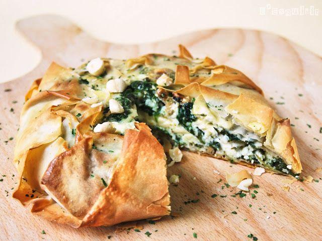 tarta philo de espinacas, queso cabra y nueces