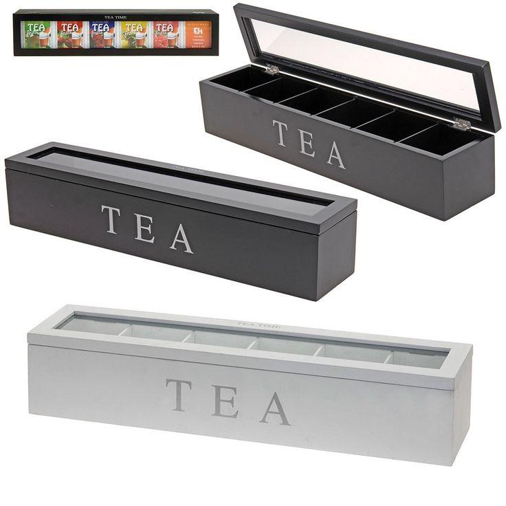 Teekiste aus Holz mit 6 Fächern - Teedose mal anders - Teebox Aufbewahrungsbox für Tee (weiß): Amazon.de: Küche & Haushalt