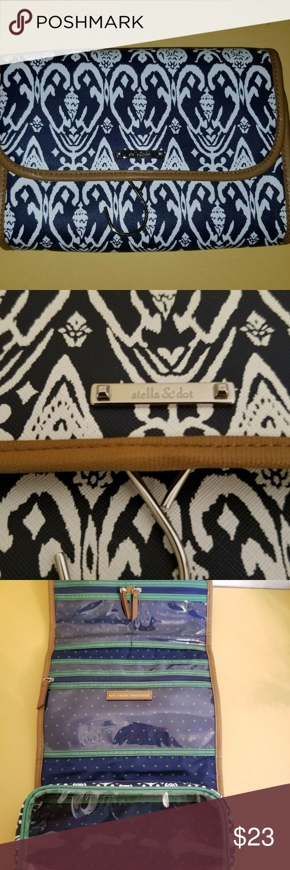 Stella and Dot Travel Make up Hanging Organizer Brand: Stella and Dot     Color: Blue and White     Condition: EUC     Length 9.5     Height 7 inches  All Measurements are with a measuring tape and are close approximations. Please review all photos  Please contact with questions Stella & Dot Bags Travel Bags