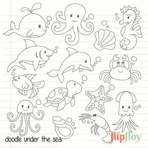 Dies Ist Doodle Meer Sammlung Mit 14 Symbol Clipart Jedes Symbol Haben Ihren Einzigartigen Stil Und Susse Farbe Je Fische Zeichnen Tier Doodles Unter Dem Meer