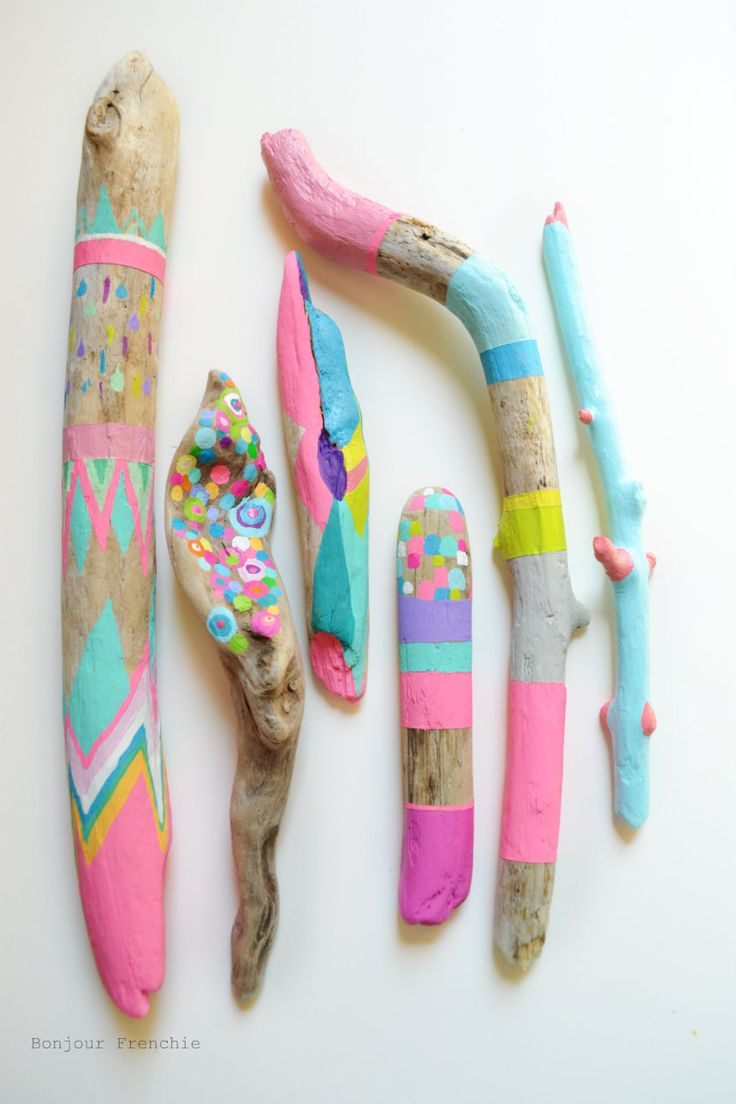 Neon Painted Sticks from BonjourFrenchie Etsy shop