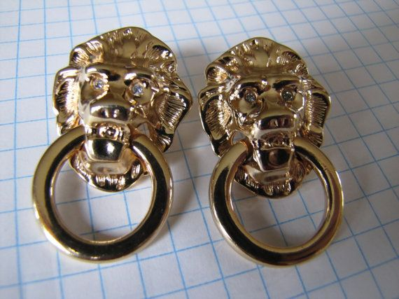 Vintage AVON Lion Door Knocker Gold Tone by themagickcat on Etsy