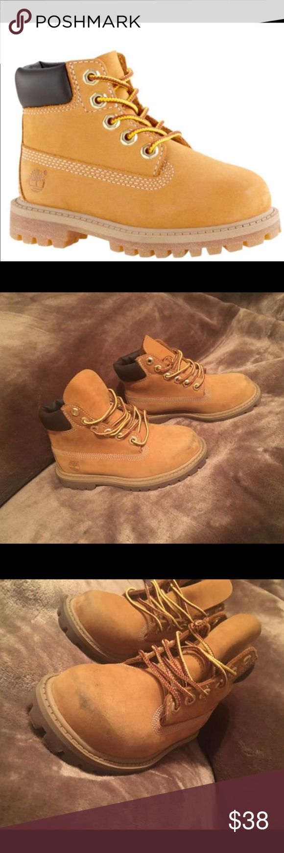 Toddler Timberland Boots Gently worn about 3 times max, minimal dirt stains on front of boot, but removable with the appropriate care. Like new condition. As cute as these shoes are my son didn't like them and is no longer a size 10! 🙂 Timberland Shoes Boots