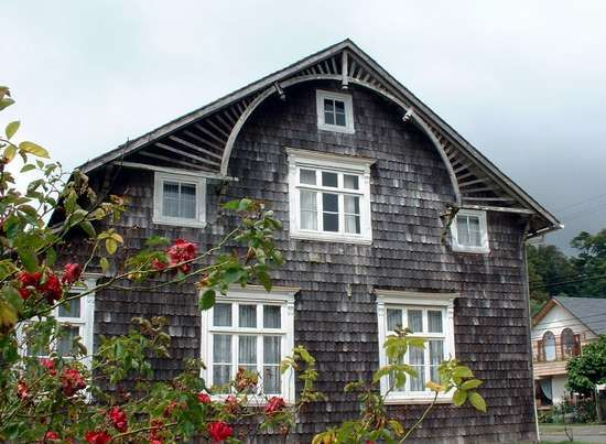 Puerto Varas. Wooden house made of alerce tree. Made by german colonist.