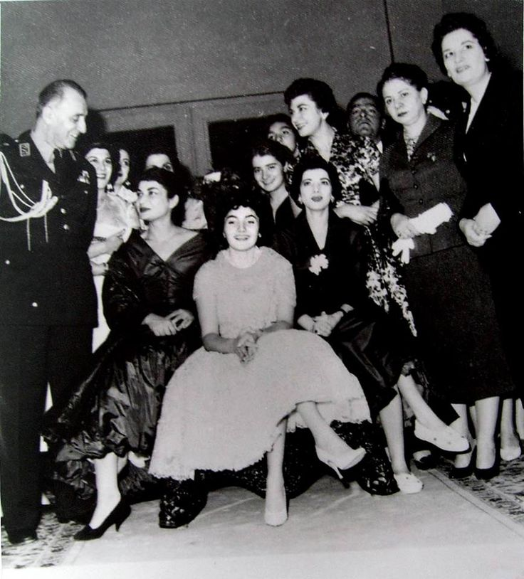 Princess Shahnaz Pahlavi and her aunts Shams and Ashraf Pahlavi and Ardeshir's sister and father, in her engagement night with Ardeshir Zahedi in 1956