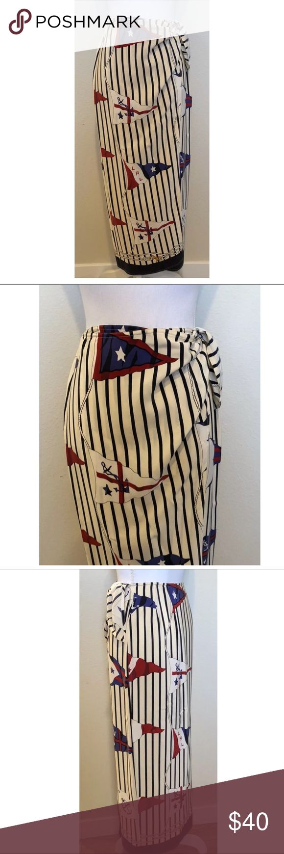 """Ralph Lauren Vintage Silk Flag/Stripe Print Skirt Ralph Lauren Vintage Silk Flag/Stripe Print Skirt ~Size 4  Measures Approximately: total length 36"""" waist across laying flat 12.5""""  Item condition/notes: Very good condition. Lauren Ralph Lauren Skirts Midi"""