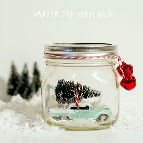 Too busy to pick up crafting supplies at the store? Snag this snow globe kit from Etsy to easily create your own vignette.