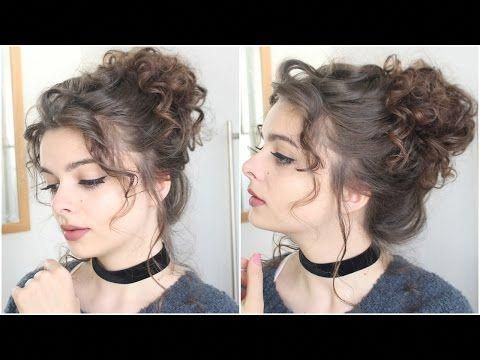 Giant Messy Curly Bun Tutorial Youtube Curlylonghairstyles Messy Bun Curly Hair Curly Hair Updo Victorian Hairstyles