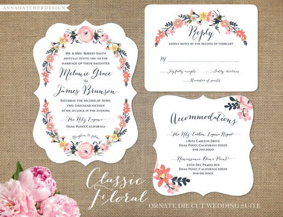 Classic Floral Wedding Invitation, Reply, Enclosure Card (Accommodations, Directions, Reception) - FAST & FREE SHIPPING