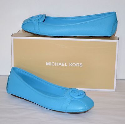 New $99 Michael Kors Fulton Moc Santorini Blue Leather Ballet Flats Rare Color