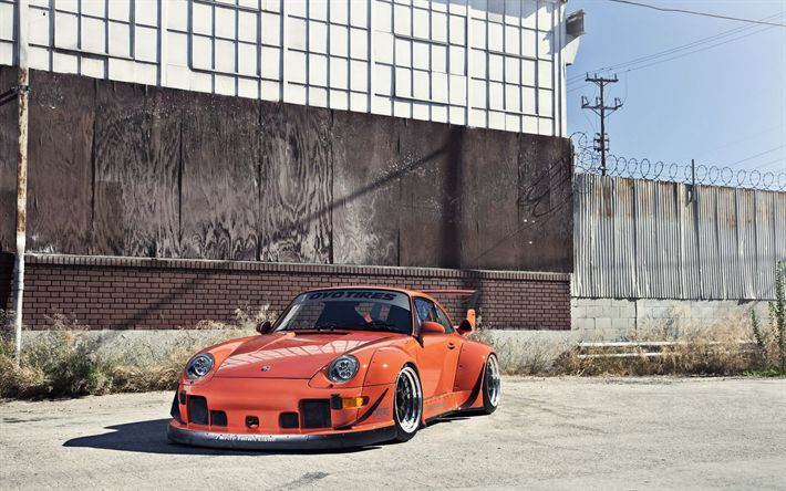 Hämta bilder Porsche 911, 1995, tuning Porsche, sportbilar, retro bilar, Widebody Kit, orange 911, RWB, Porsche