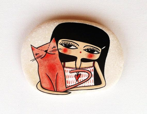 Girl and Cat Hand Painted Stone Pebble Paperweight by Vijolcenne