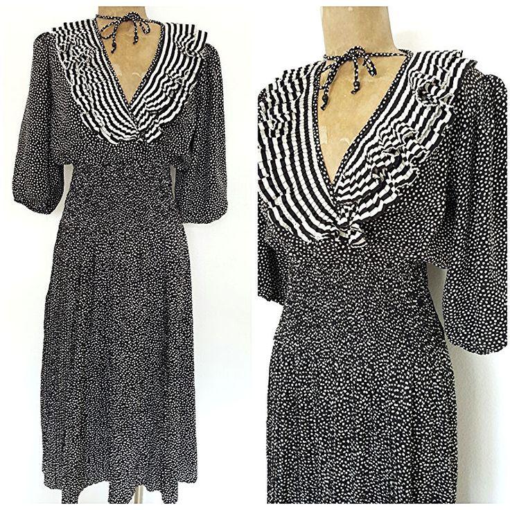 Vintage 80s Festival Dress Size XSmall Ruffle Polka Dot Stripe Pleated Freis #SusanFreis #Sexy #Festive