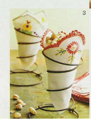 Such a cute idea!  I have tons of old napkins & hankies ... and bedsprings!  Cute!