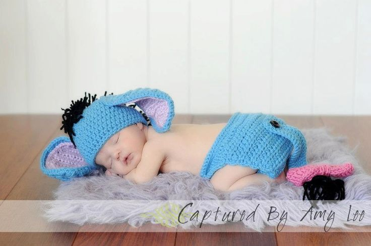 Eeyore costume, Hat and diaper cover w/tail Pic prop, newborn picture, crochet baby set, Donkey, Photo Prop, Baby pictures, Infant, Newborn