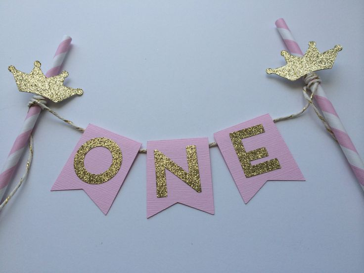 Pink and Gold Cake Bunting Banner with Gold Tiara. 1st Birthday Cake. Smash Cake. Cake Decor. Princess Party by PaperTrailbyLauraB on Etsy