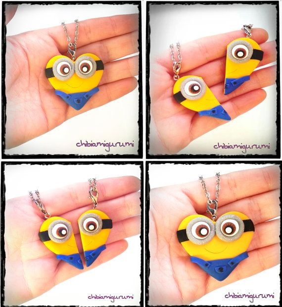 Minion heart charm chibi necklace in polymer clay from Despicable Me movie - BBF - friendship - best friends forever - Valentine's day on Etsy, $25.19