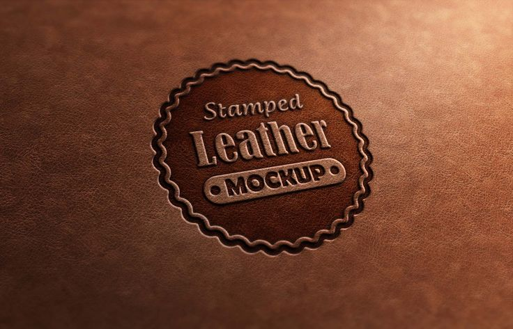 photorealistic logo mockup pack leather stamp