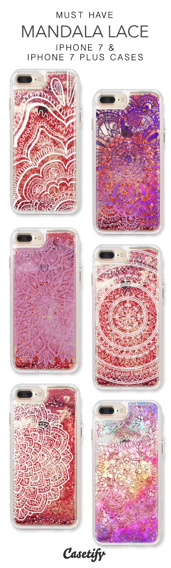 Must Have Mandala Lace iPhone 7 Cases & iPhone 7 Plus Cases. More liquid glitter iPhone case here > https://www.casetify.com/en_US/collections/iphone-7-glitter-cases#/?vc=KNDSHcWHPL