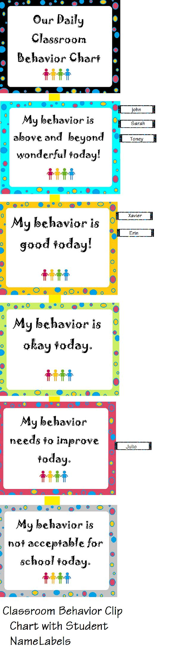 behavior clip chart with name labels I love this!!! For all the children that have an extra great day:)