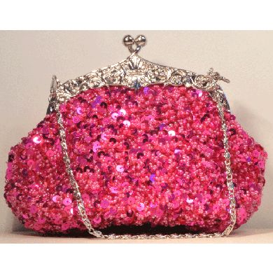 Pink bling clutch purse. Cute bridal purse for a bride with a pink color theme wedding