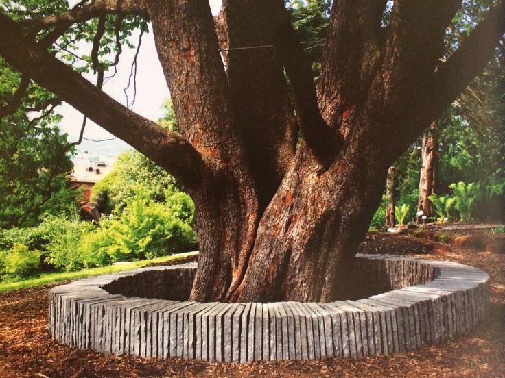 Slate bench in Oslo botanisk hage (botanical gardens). From Arkitektur N magazine